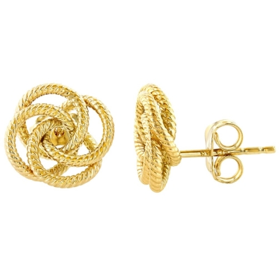 14K Yellow Gold Love Knot Rope Stud