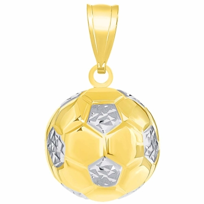 14K Yellow Gold Soccer 3D Pendant