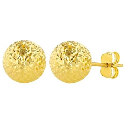 14k Yellow Gold Textured Ball Earrings