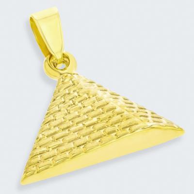14K Yellow Gold Satin Polished Egyptian 2D Pyramid Pendant
