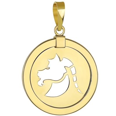 14K Yellow Gold Capricorn Zodiac Sign Pendant