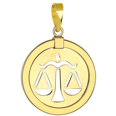 14K Yellow Gold Libra Zodiac Pendant