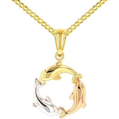 14K Tri-Color Gold Kissing Dolphin Pendant