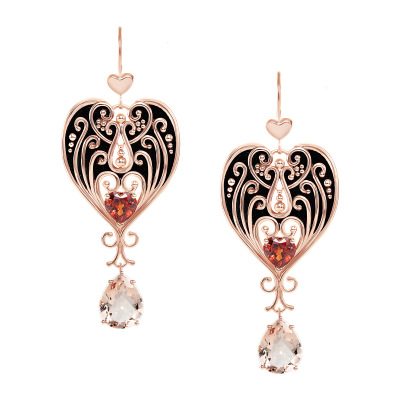 Adelaide Earrings with Morganite and Garnet