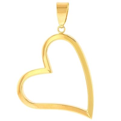 14K Yellow Gold Fancy Sideways Heart Pendant