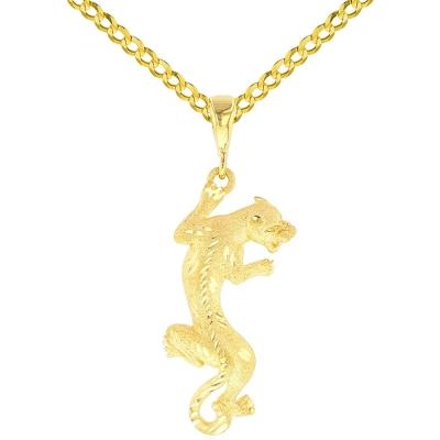 14K Yellow Gold Panther Charm Animal Pendant