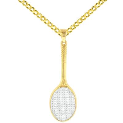 14K Yellow Gold Tennis Racquet Pendant