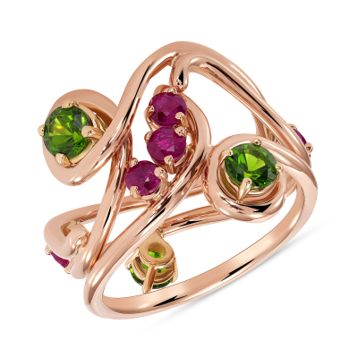 Ruby and Tsavorite Stacking Ring Set