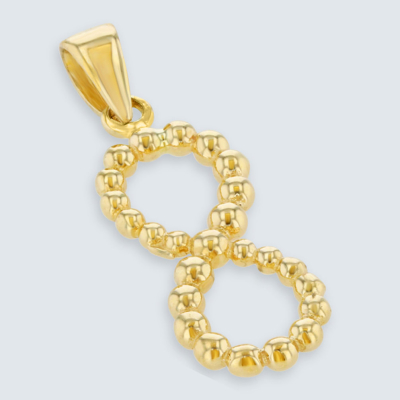 14K Yellow Gold Beaded Vertical Infinity Pendant.