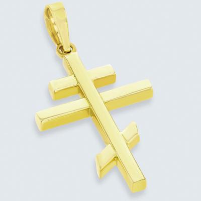 14K Yellow Gold Russian Orthodox Cross Pendant