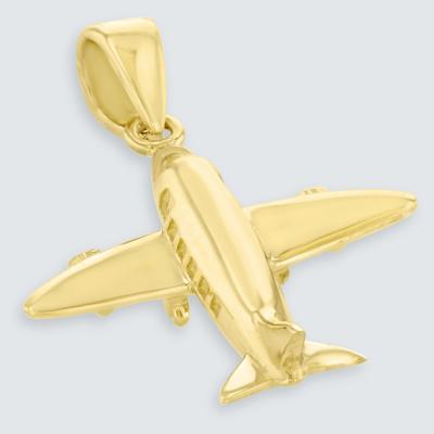 14K Yellow Gold 3D Airplane Jet Aircraft Pendant