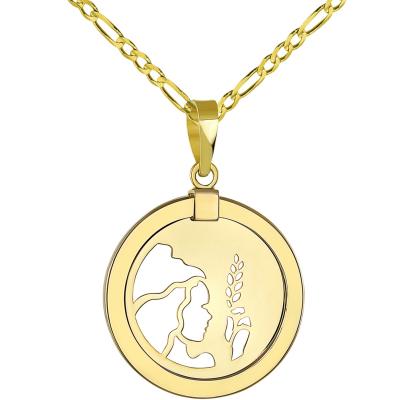 14K Yellow Gold Reversible Round Virgo Zodiac Sign
