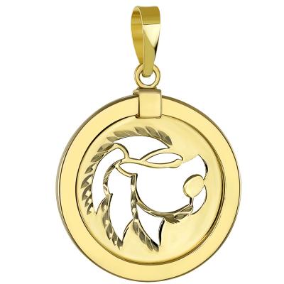 14K Gold Reversible Round Lion Leo Zodiac Pendant