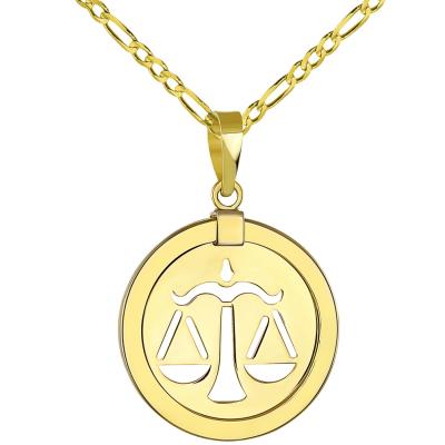 14K Gold Reversible Libra Scale Zodiac pendant