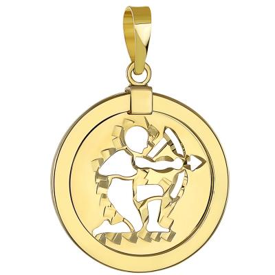 14K Yellow Gold Reversible Sagittarius pendant