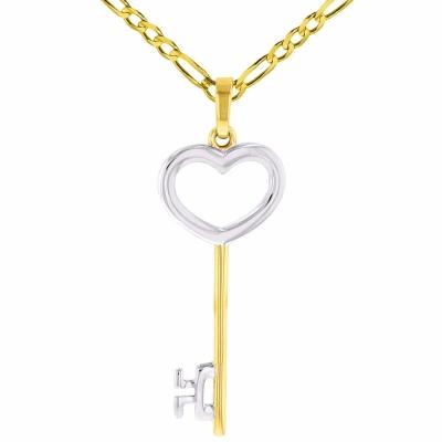 14K Yellow Gold Open Key to My Heart Pendant