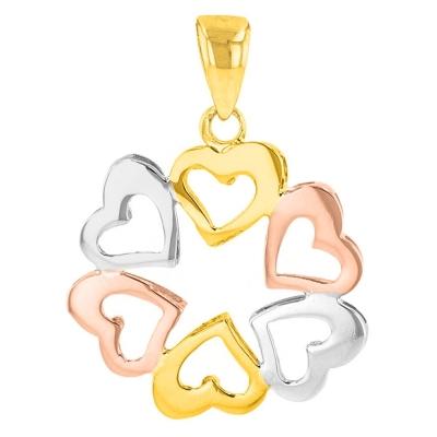 14K Tri-Color Gold Heart Charm Love Pendant