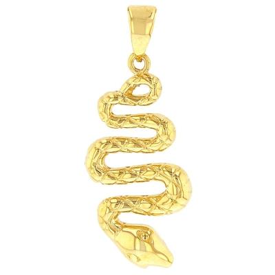 14K Yellow Gold Snake Charm Animal Pendant