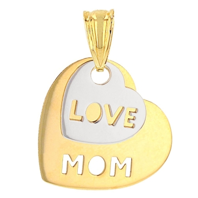 14K Two-Tone Gold Love Mom Double Heart Pendant