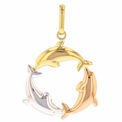 14K Tri-Color Gold Dolphin Circle Pendant