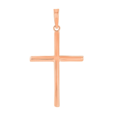 14K Rose Gold Plain Slender Cross Pendant