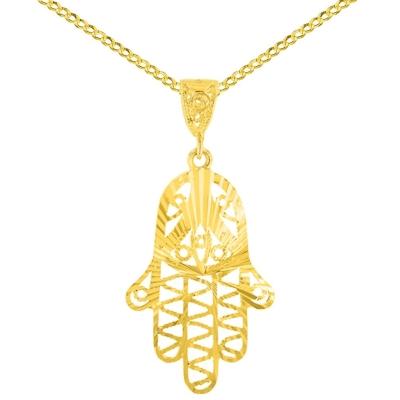 14K Yellow Gold Filigree Hamsa Hand Pendant