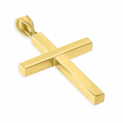 14k Yellow Gold Simple Religious Cross Pendant with Curb Chain