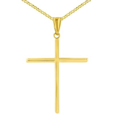 14K Yellow Gold Plain Slender Large Cross Pendant