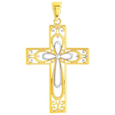 14K Yellow Gold Textured Milgrain Cross Pendant