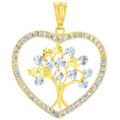 14K Yellow Gold Heart Shaped Tree of Life Pendant