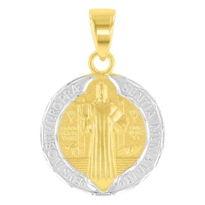 14K Yellow Gold Satin St Benedict Pendant