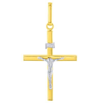 14K Two-Tone Gold Slender Cross Pendant