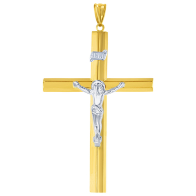 Yellow Gold & White Gold Cross Pendant Necklace