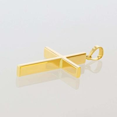 14K Yellow Gold Plain Slender 3D Cross Pendant