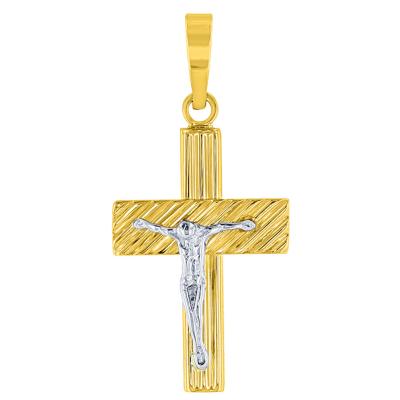 14K Two-Tone Gold Rugged Edged Cross Crucifix Pendant