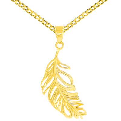 14K Yellow Gold Textured Feather Charm Necklace