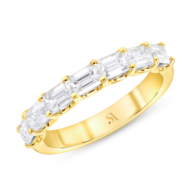 emerald cut diamond half eternity band yellow gold