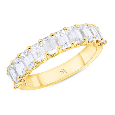 eternity diamond band with prong setting yellow gold