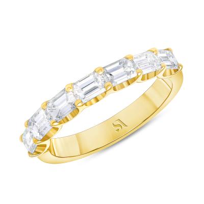 emerald cut diamond half bezel eternity band yellow gold