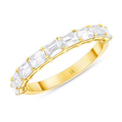 emerald eternity band yellow gold