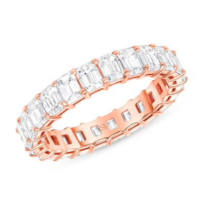rose gold eternity band basket setting in rose gold
