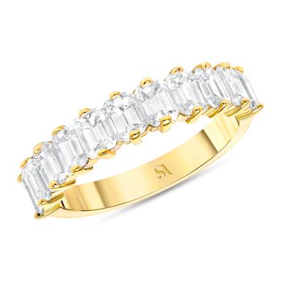 emerald cut half eternity band gold
