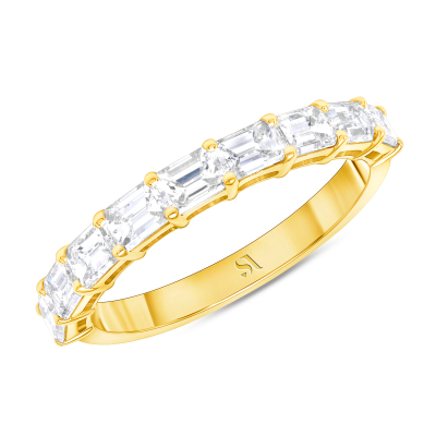 emerald cut eternity band with half in gold