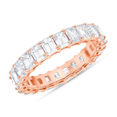 diamond emerald cut eternity band in rose gold