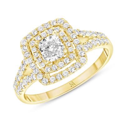 double halo cushion engagement ring gold