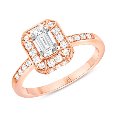 Emerald Cut Diamond Engagement Ring in Rose Gold