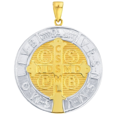 St Benedict Medal Charm Saint Pendant Figaro Chain Necklace