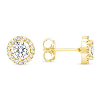 Round Diamond Earring Studs Single Halo | Sabrina A Inc