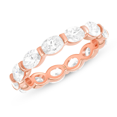 oval cut diamond eternity band rose gold