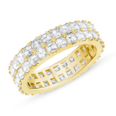 asscher cut eternity band yellow gold